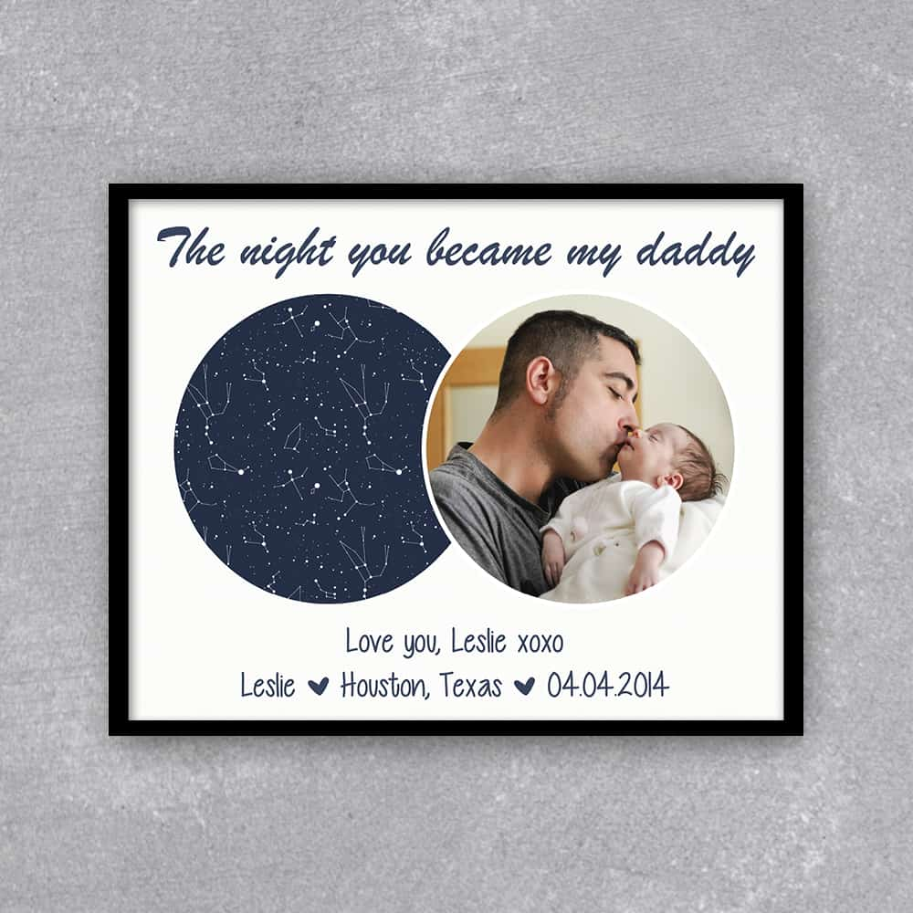 a star map print with a photo of new dad with baby: 1st fathers day gift for new dad