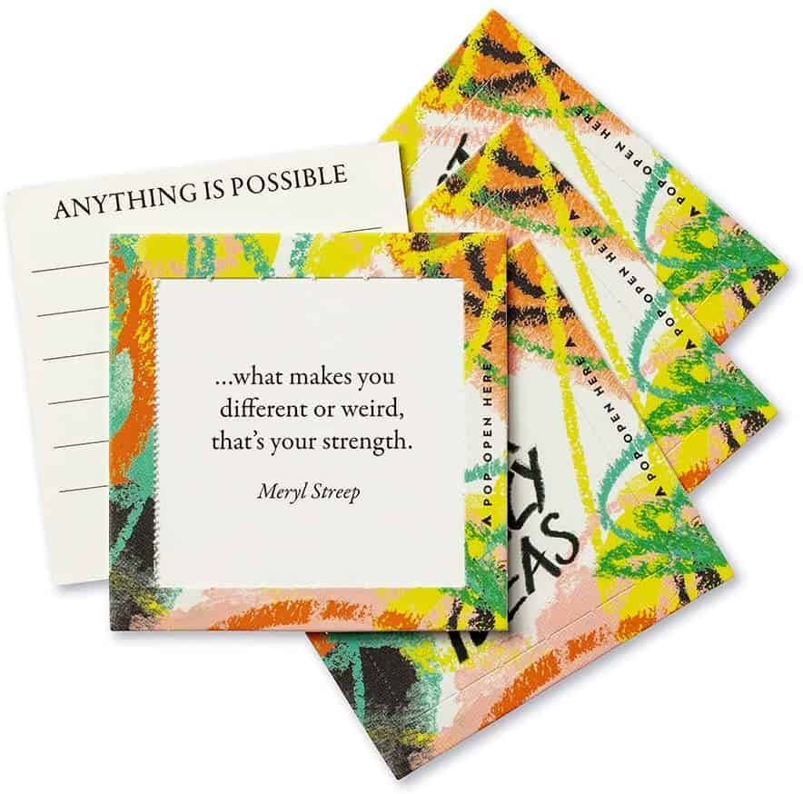 a card with the quote from Meryl Streep