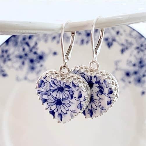 White Broken China Jewelry Heart Earrings