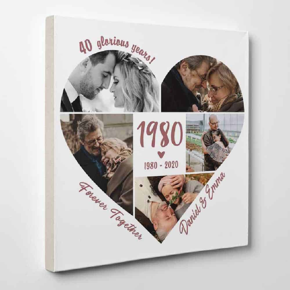 anniversary gifts for parents: custom photo collage canvas print