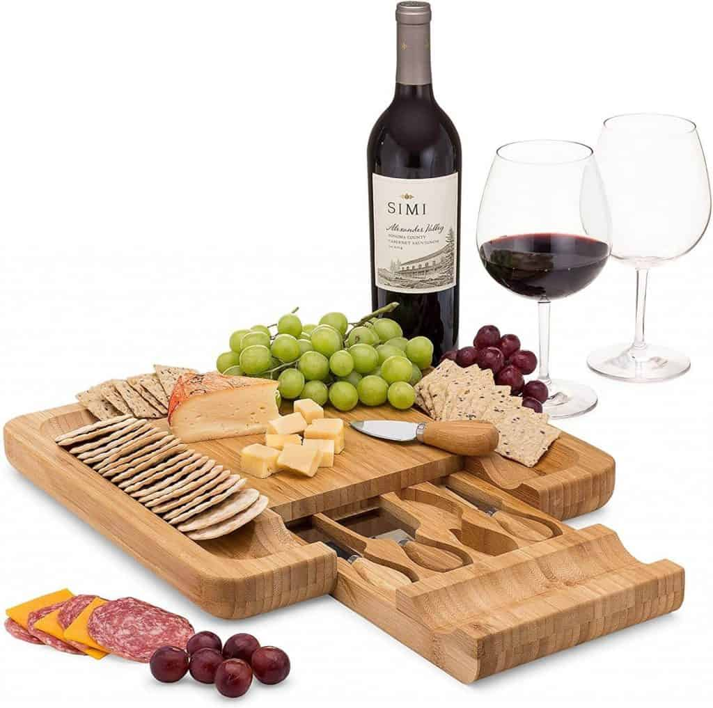 last minute anniversary gifts: bamboo cheese board set