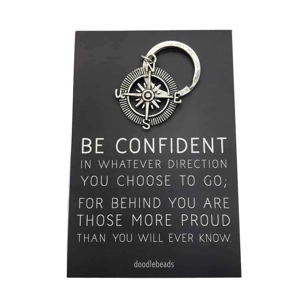 be confident compass key ring gift for male graduates