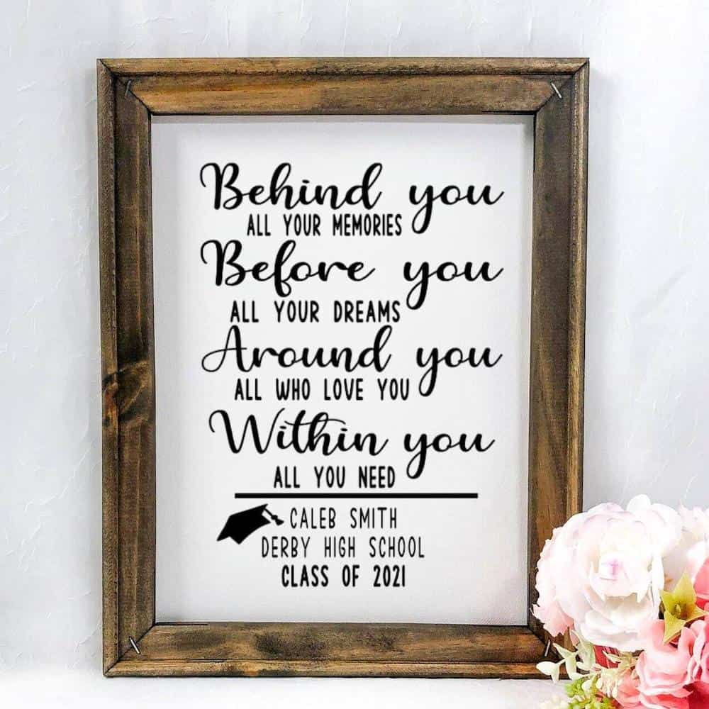 a personalized sign with the motivational words - graduation gifts for him