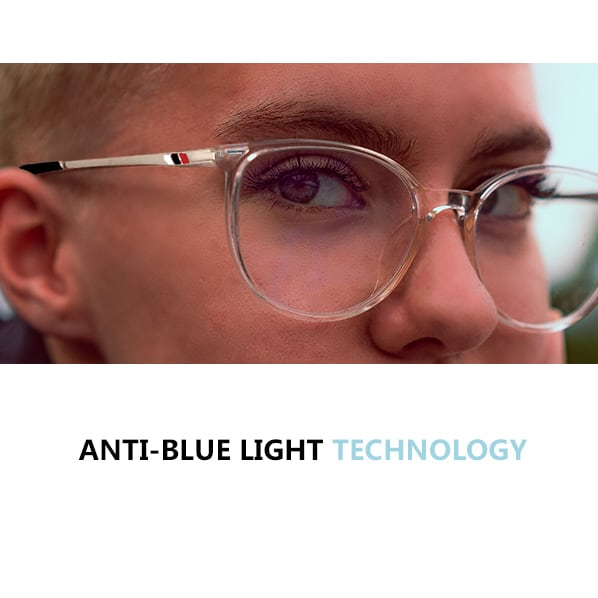 a man wearing glasses with anti blue light technology