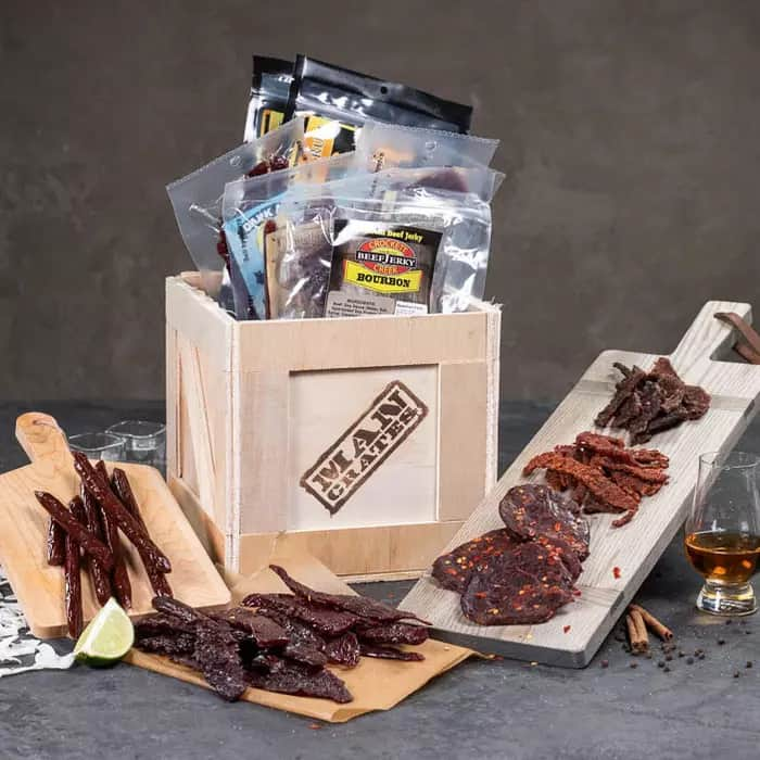 gifts for hard to buy for man: booze infused jerky crate