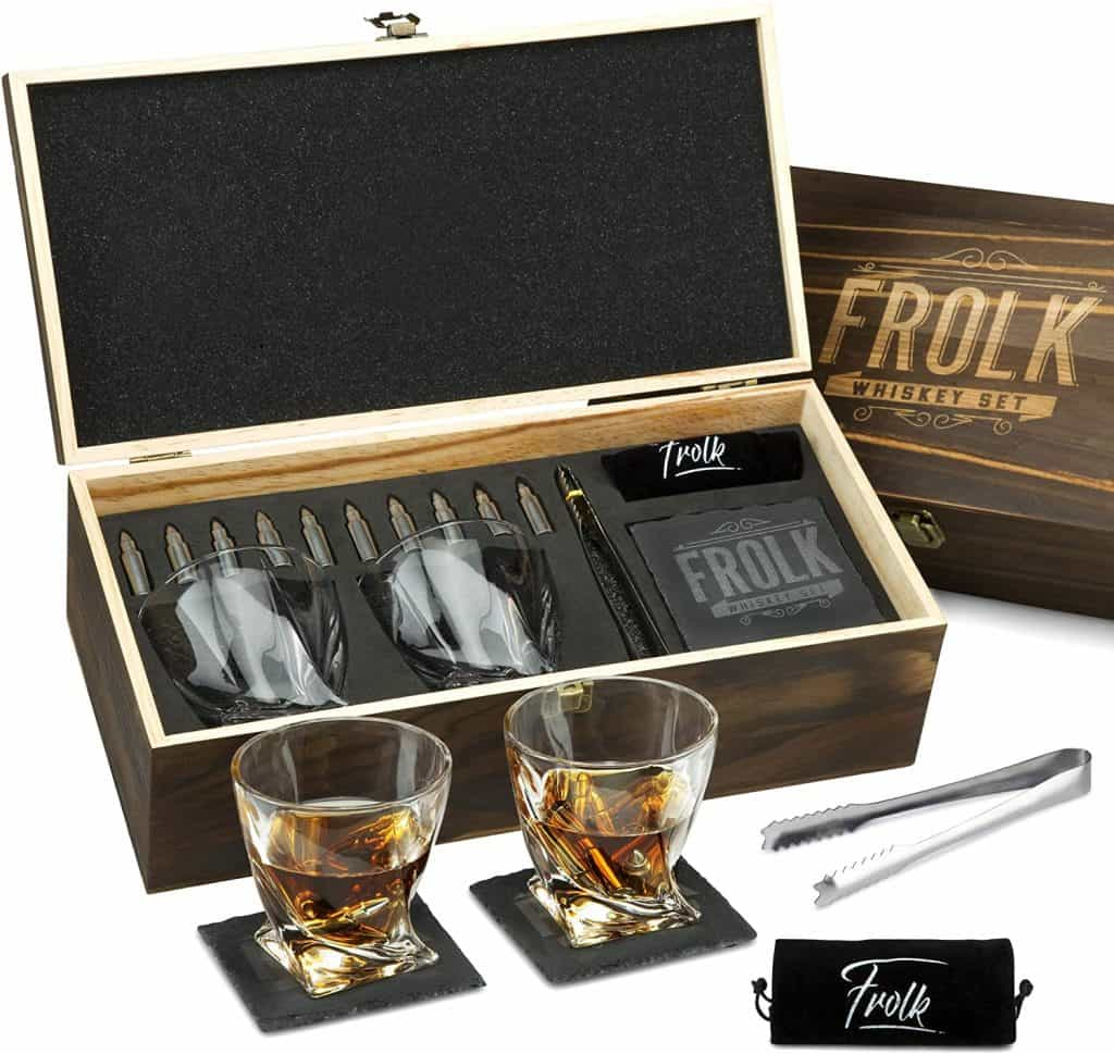 gift for the hard to buy for man: bullet shaped whiskey stone gift set