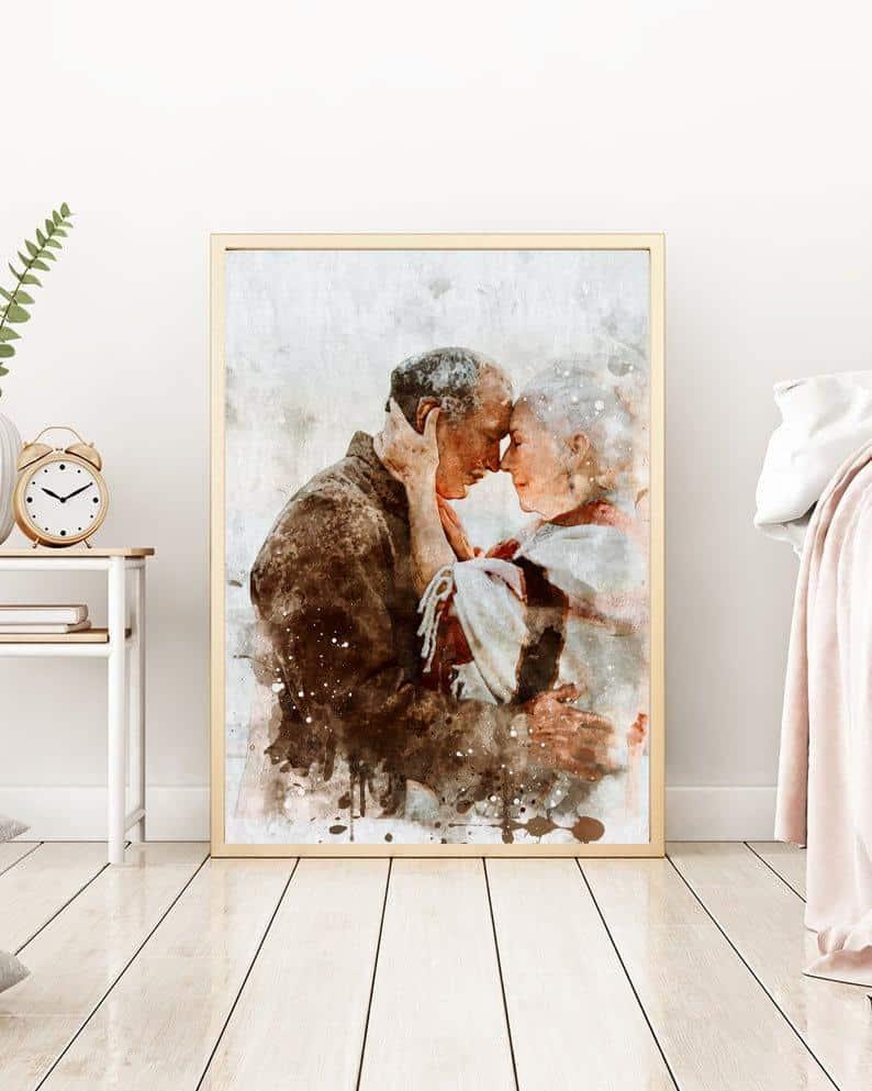 anniversary gift for parents: custom couple portrait