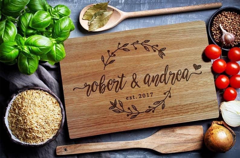 anniversary gifts for friend: custom cutting board