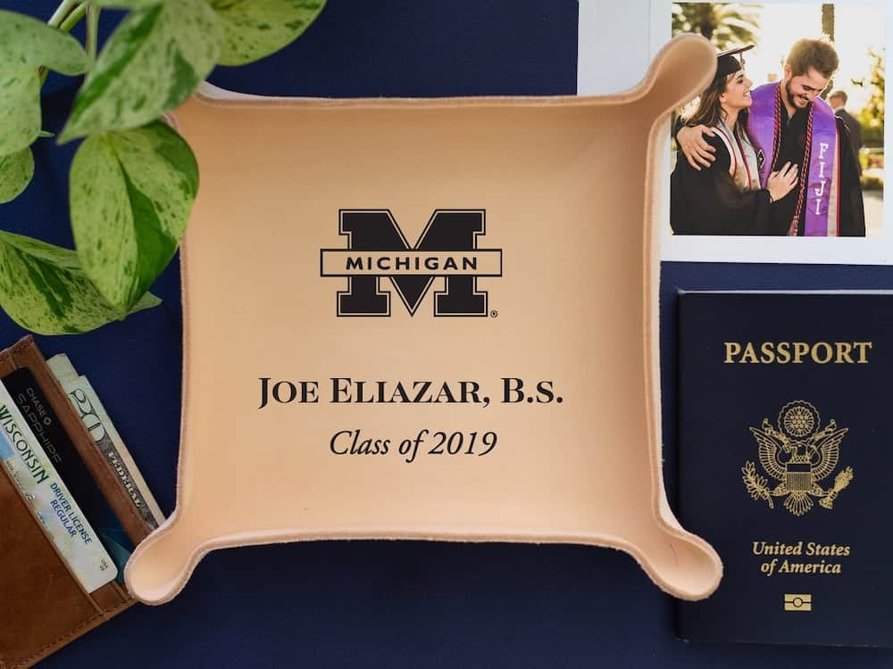 custom leather tray - a male graduation gift