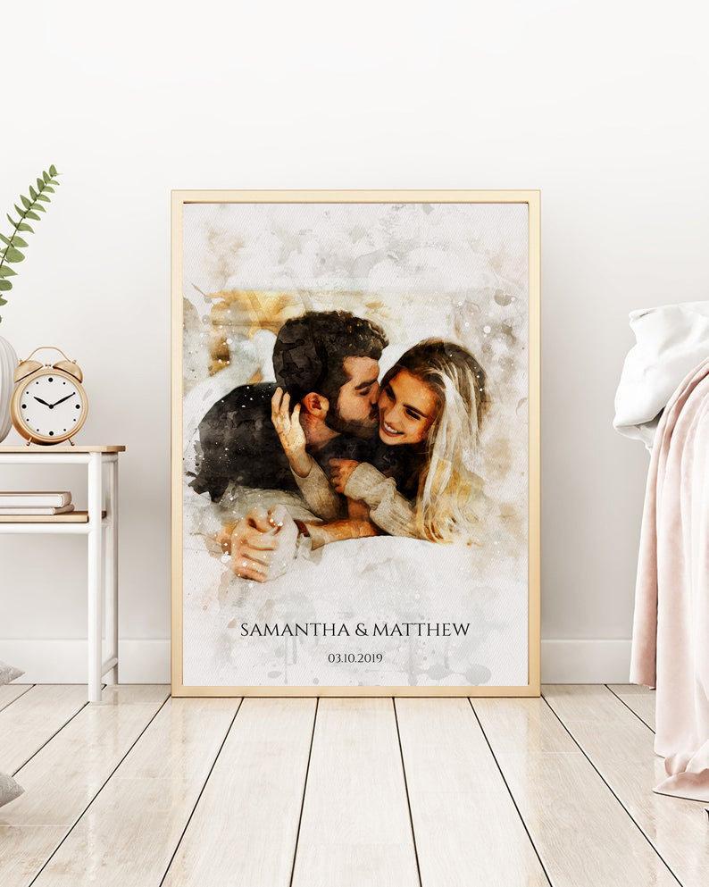 anniversary gift ideas for friends: custom couple portrait