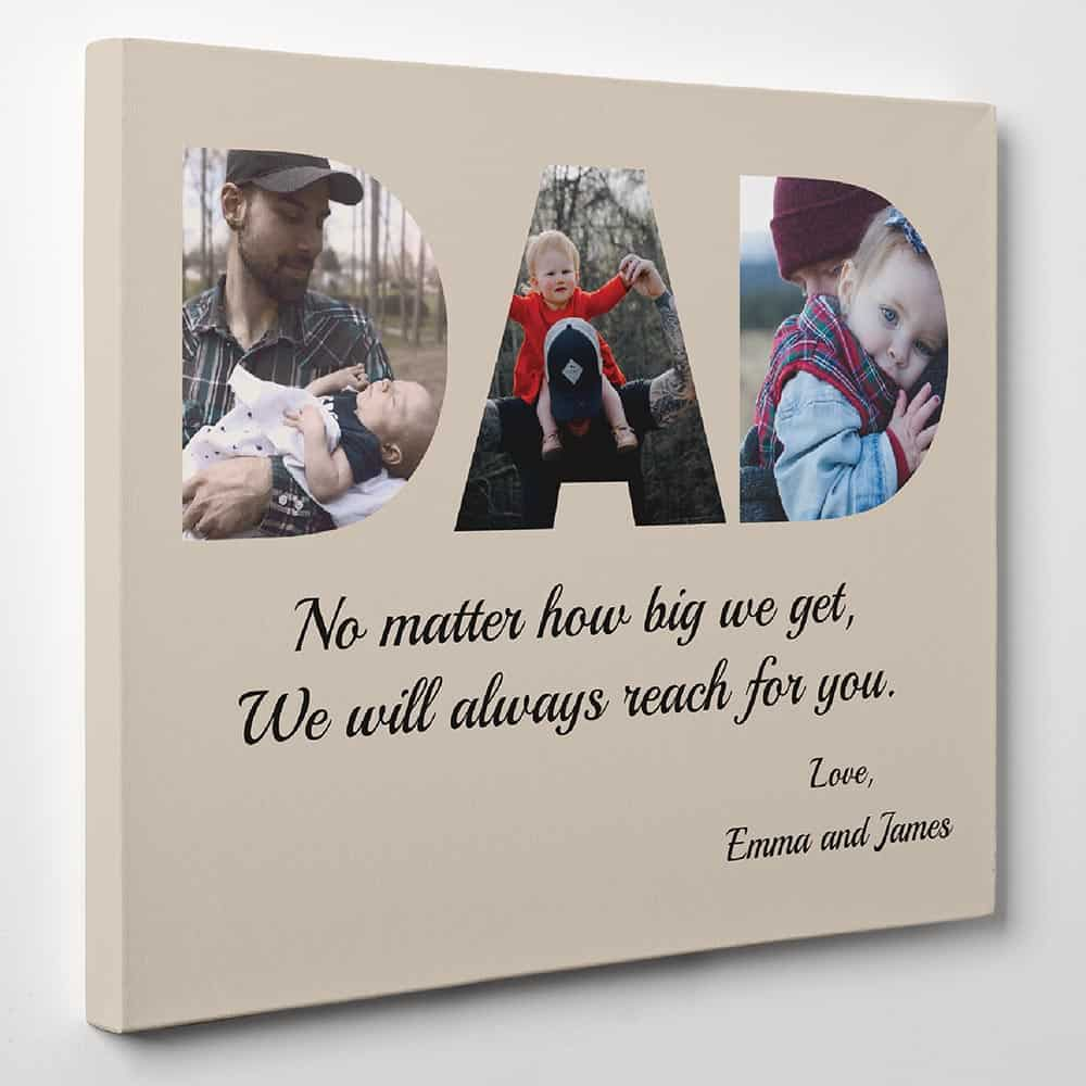 DAD photo canvas print - fathers day gift for first time dad