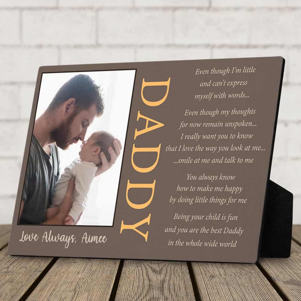 a desktop photo plaque with a poem from baby to dad - a gift idea for first fathers day