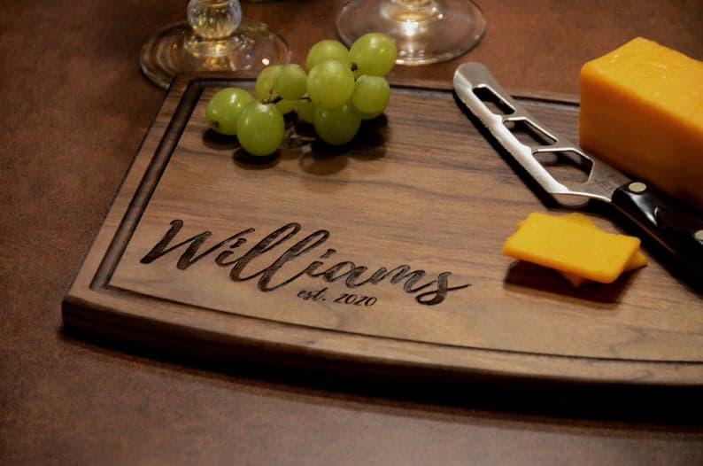 gift for the hard to buy for man: engraved cutting board