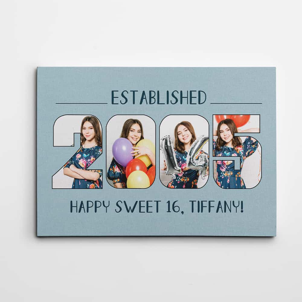 established birth year photo canvas print gift for her 16th birthday