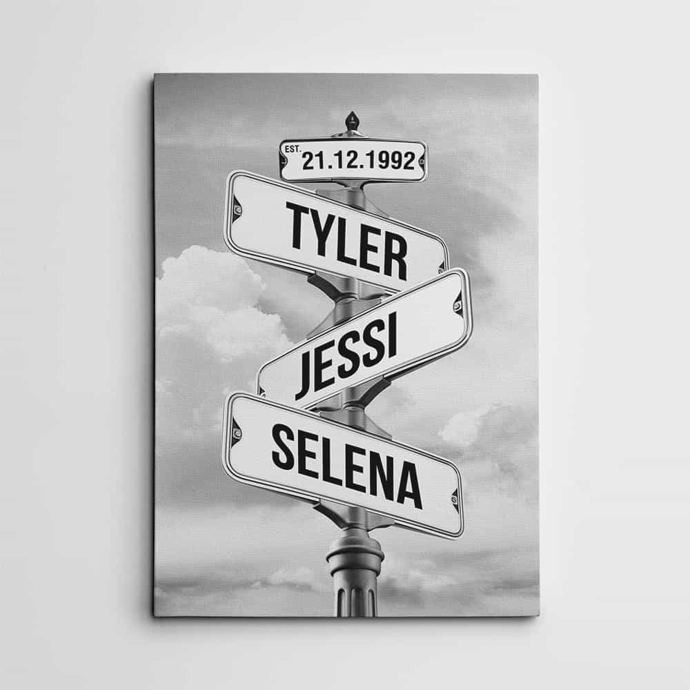 a street sign print with family members names