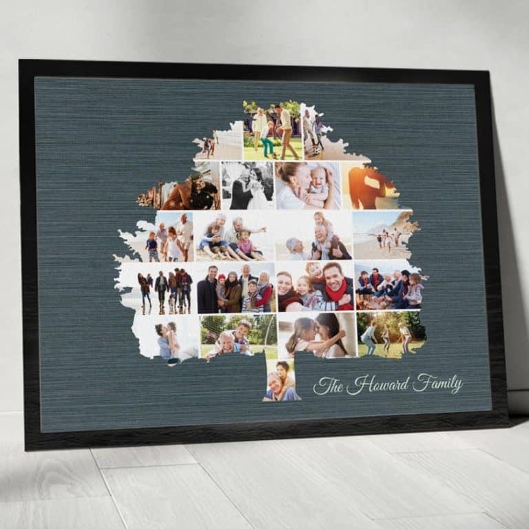 Family Tree Photo Collage Custom Canvas Print