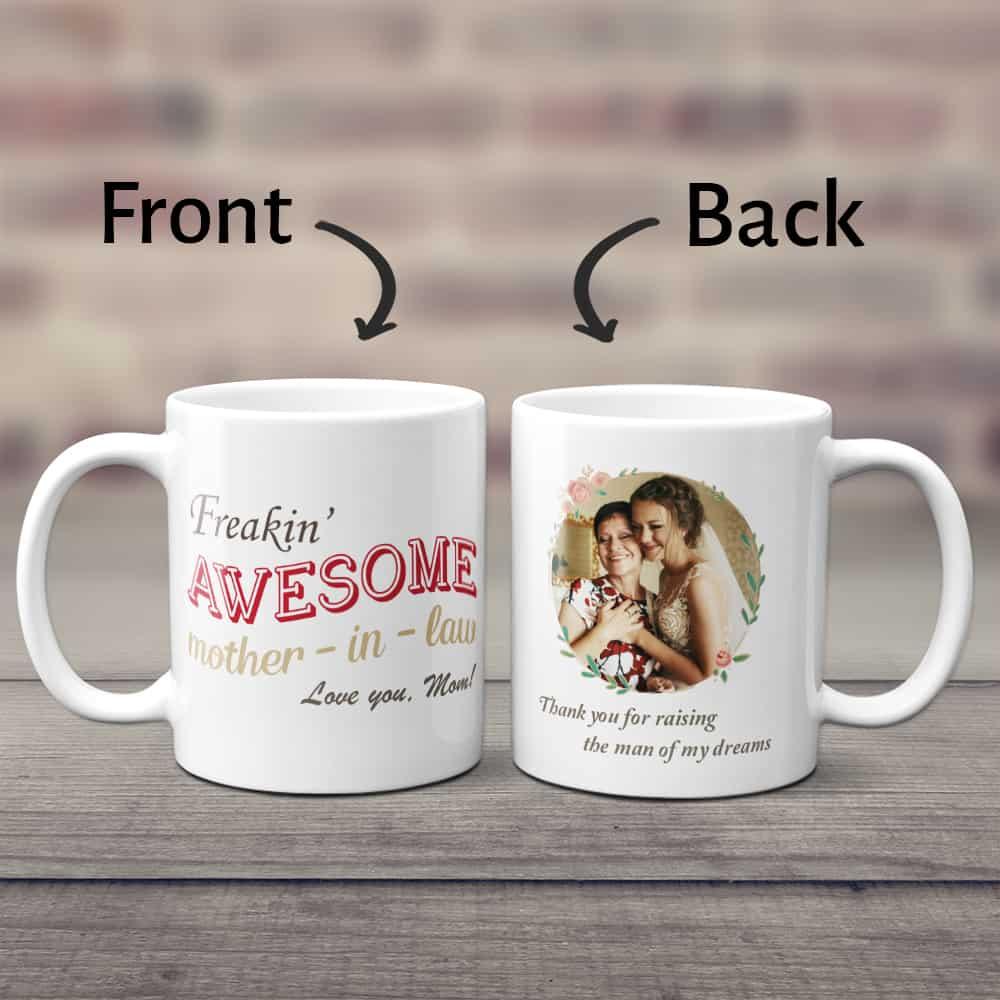 Freaking Awesome Mother In Law Custom Photo Coffee Mug