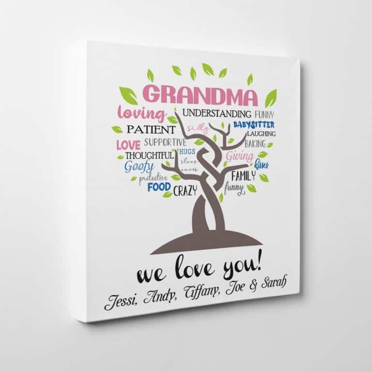 Grandma Loving We Love You Custom Canvas Print