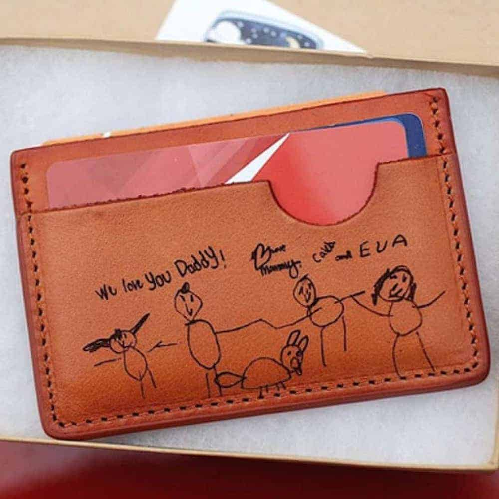 a wallet with children's handwriting