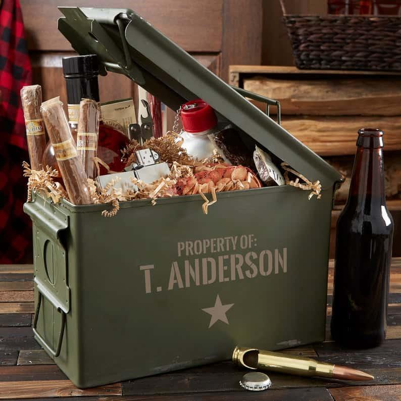 unique gift for men: personalized ammo box