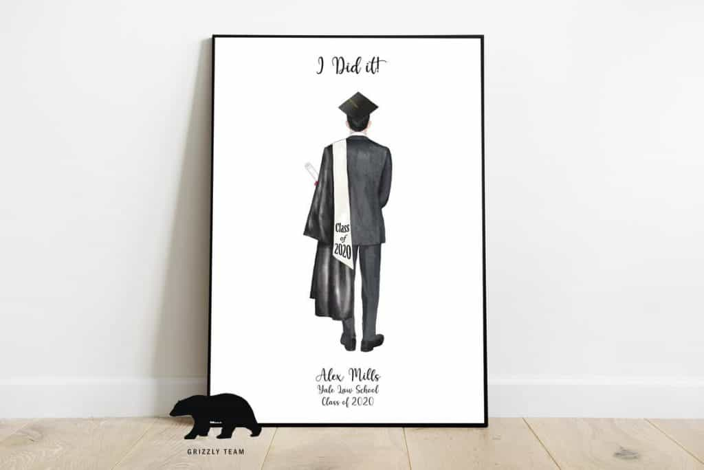 a personalized graduation print gift for male graduates