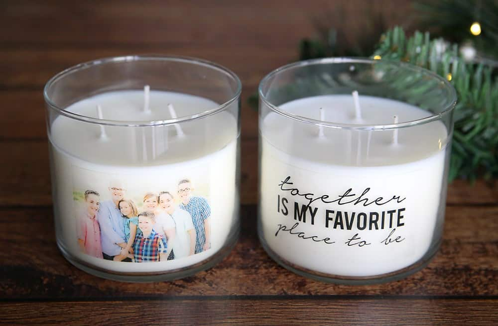easy diy mother's day gifts: photo candle