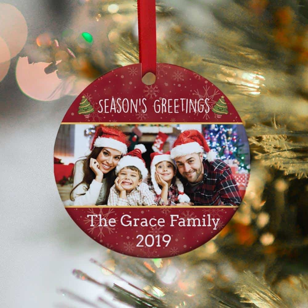 an ornament with family photo as a gift for dad