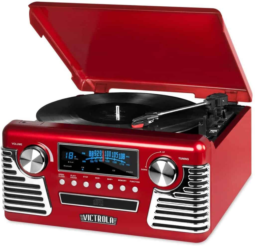 a red record player as a gift for music loving dads