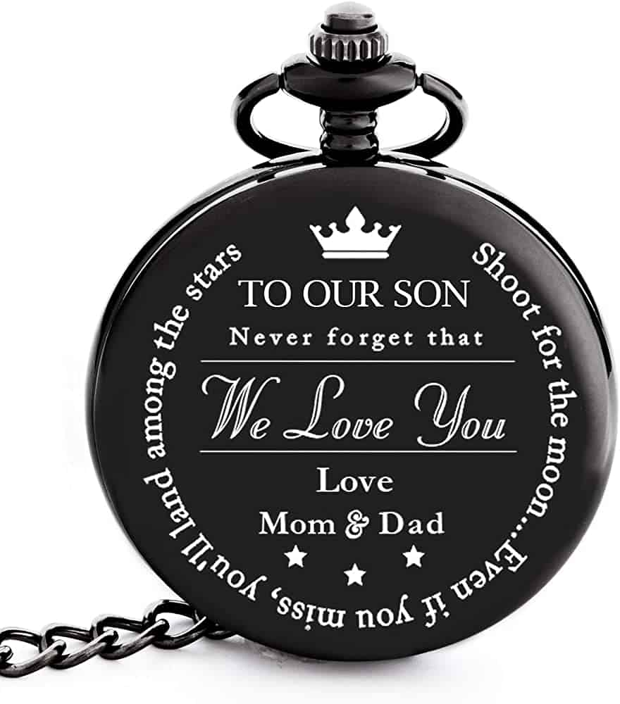 a pocket watch engraved with the words to our son - meaningful male graduation gift