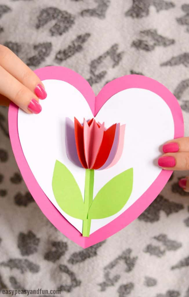 homemade mothers day gifts from child: tulip in a heart card