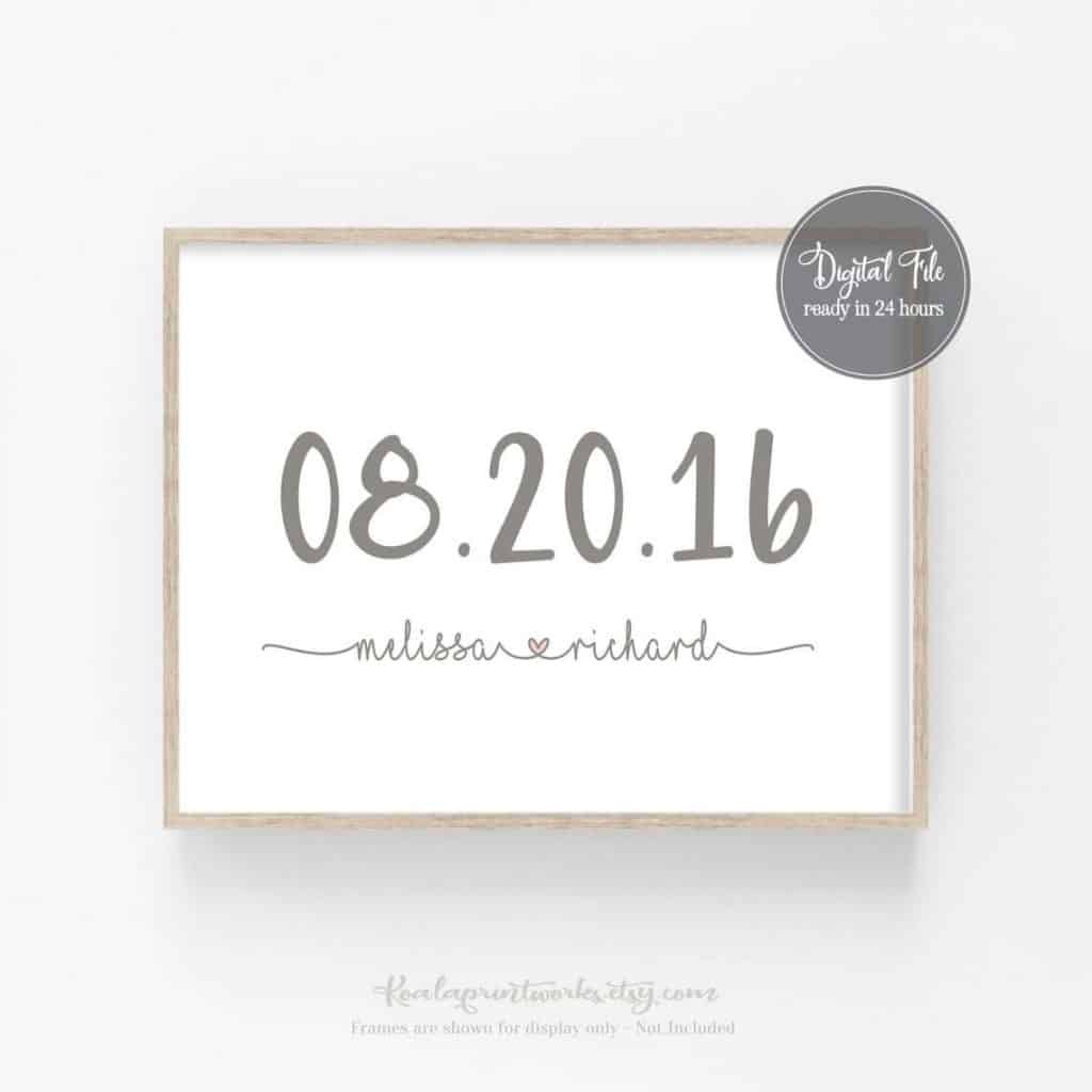 quick anniversary gifts: digital wedding date art print