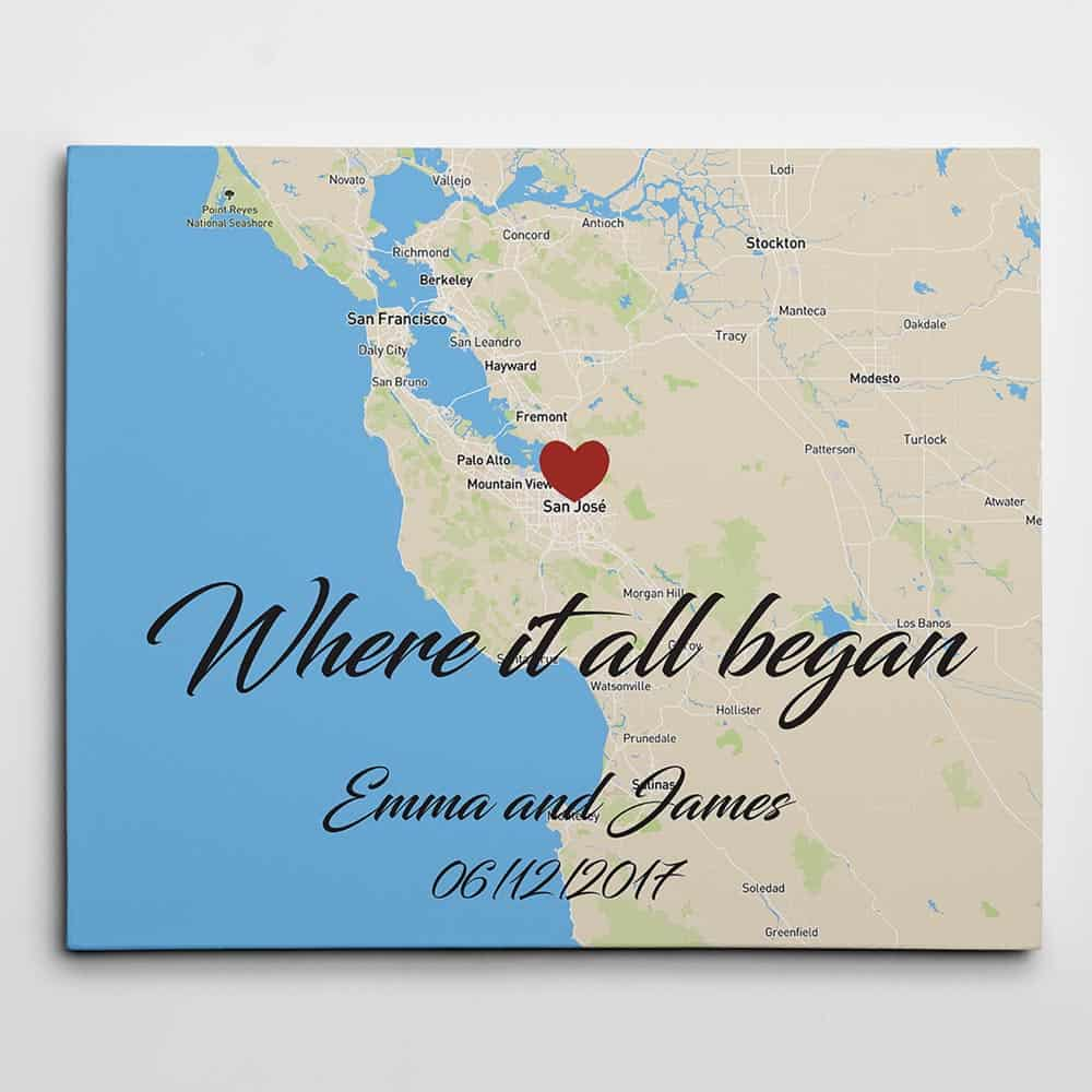 anniversary gifts for friends: where it all began map canvas wall art