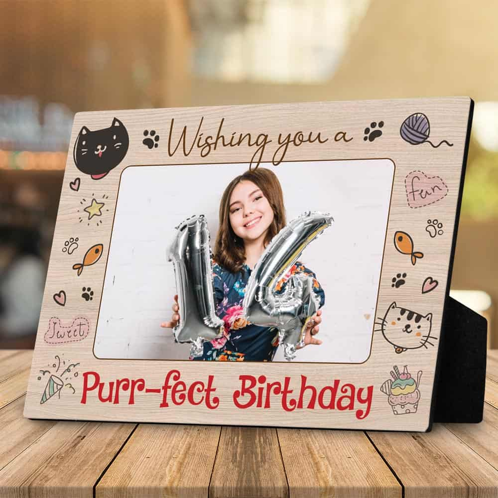 wishing you a purrfect 16th birthday desktop photo plaque for her