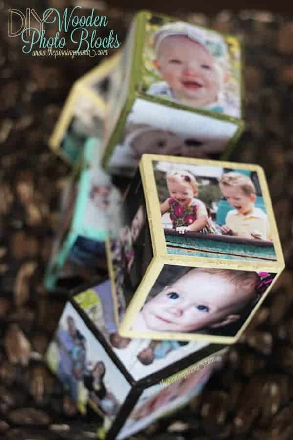 homemade mothers day gift: wooden photo block