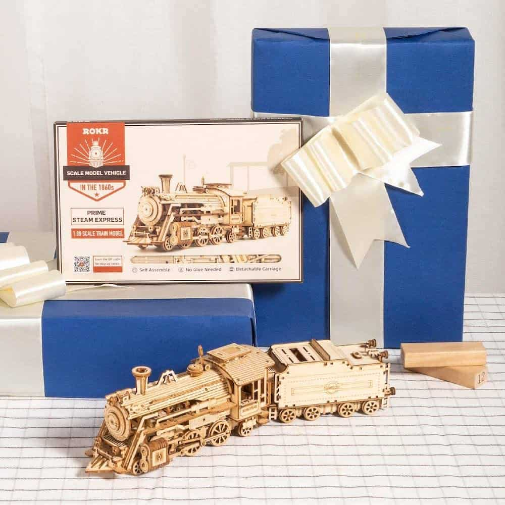 a train model puzzle kit for dad