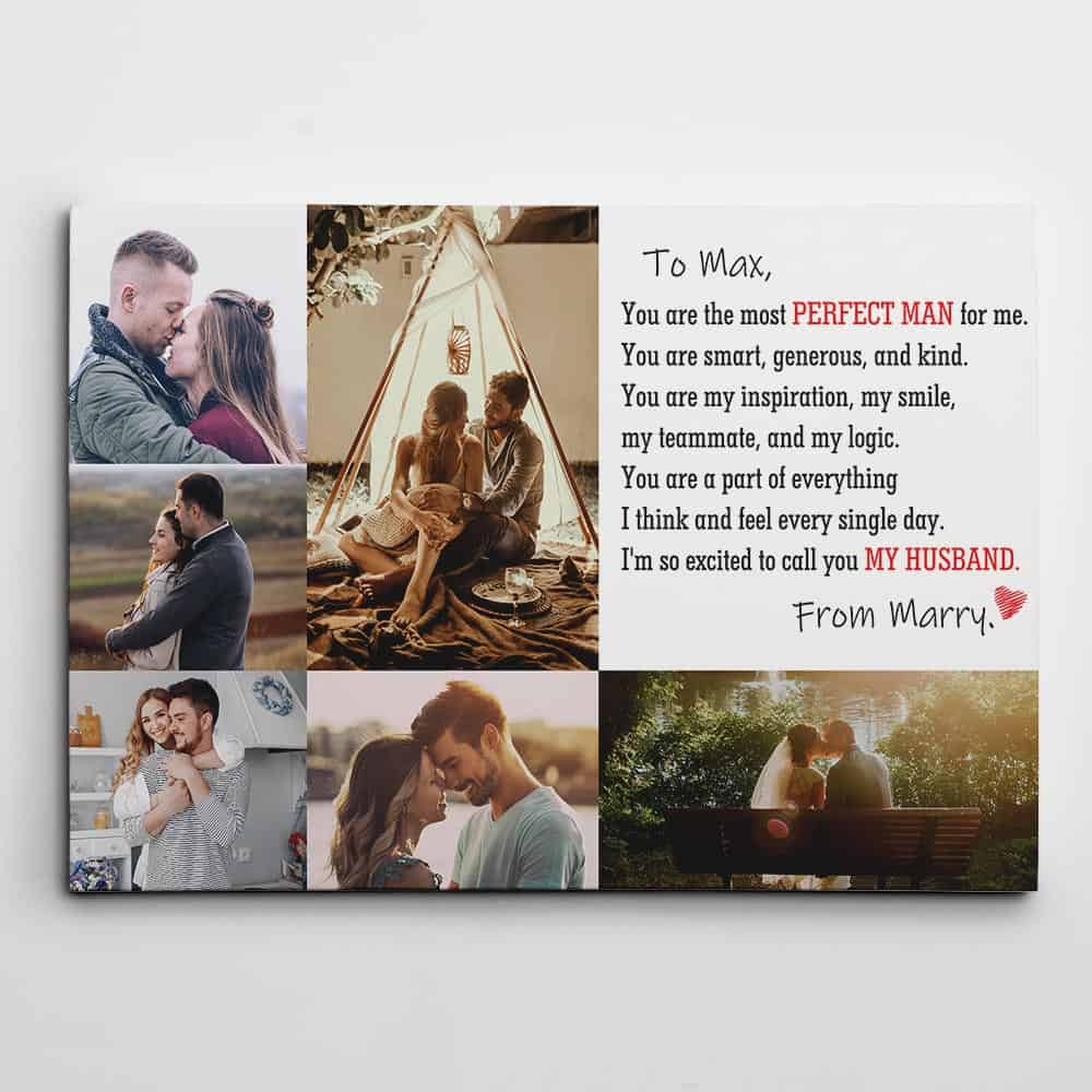 To My Husband You Are The Most Perfect Man Custom Photo Canvas Print
