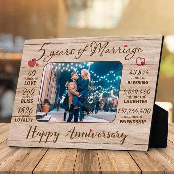5 Years Of Marriage Desktop Plaques