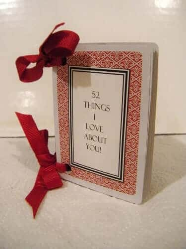 diy anniversary gift ideas: 52 things i love about you cards