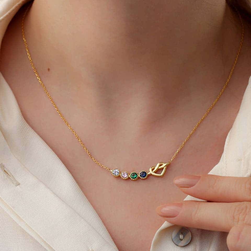 Birthstone Necklace - gifts for mom on mothers day from daughters