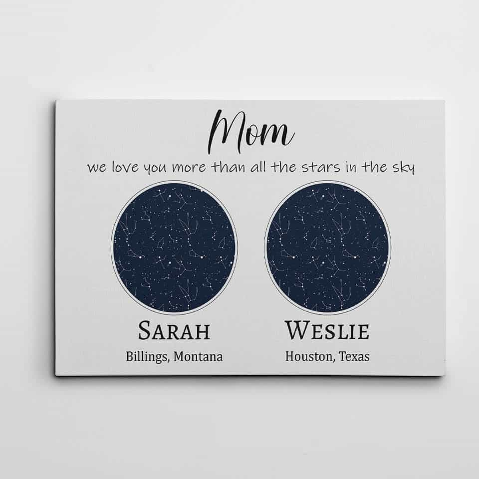 Constellation Maps Canvas Print - mothers day gifts for mom from daughters