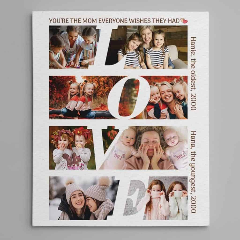 personalized gift for mom: custom photo collage canvas print