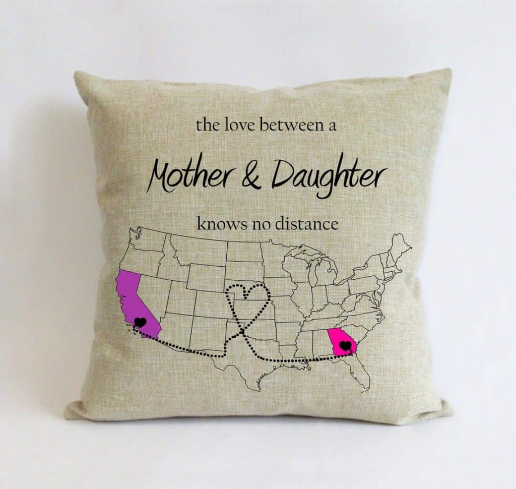 Love Knows No Distance State Map Pillow