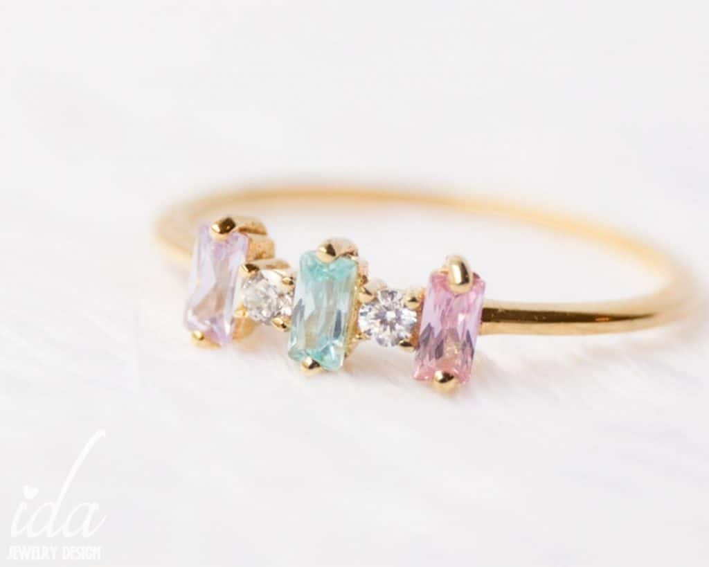 Personalized Birthstone Ring birthday gift for mom