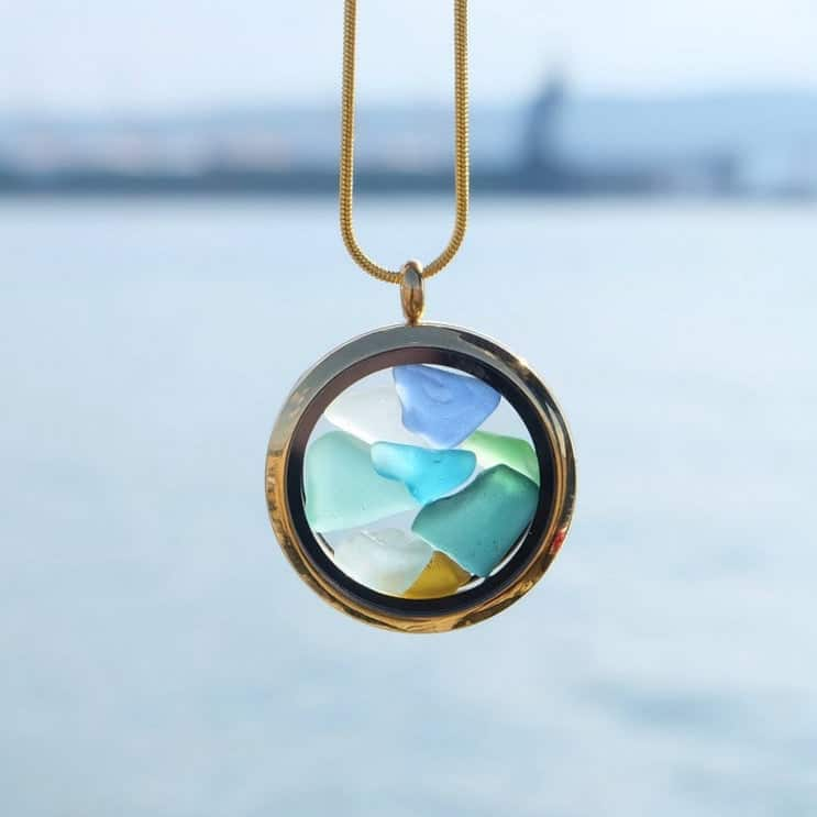 Sea Glass Necklace Birthday Gift for Mom