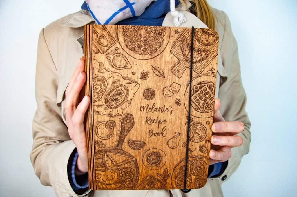 Wooden Recipe Book Binder Birthday Gift For Mom