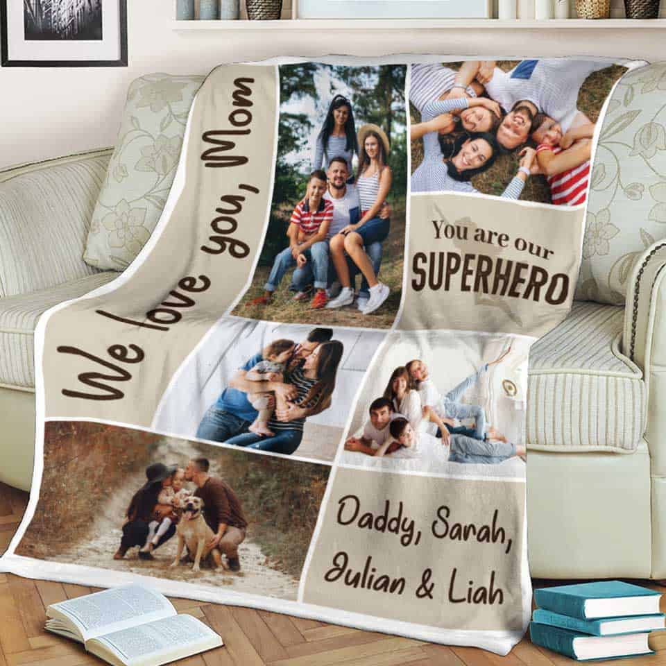 You Are Our Hero Collage Blanket - mothers day gifts for mother from her daughter