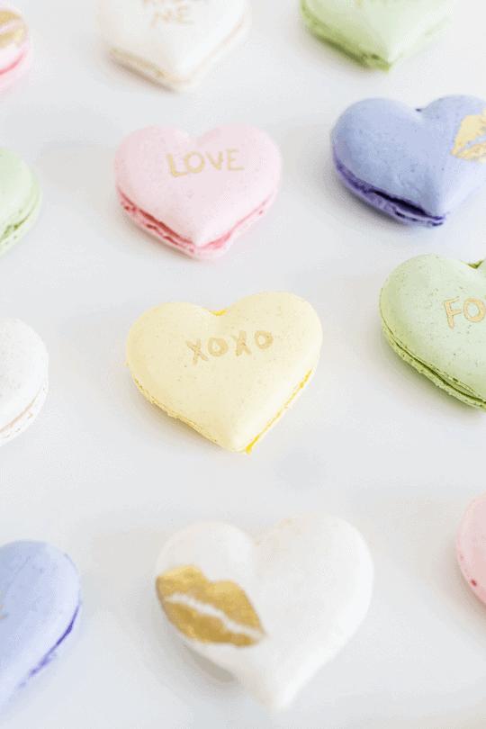 anniversary gift ideas for him: conversation heart macarons