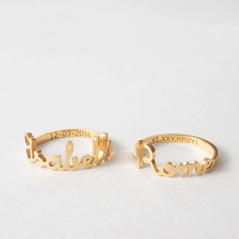 personalized mother's day jewelry: custom name riings