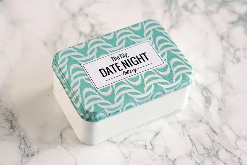 diy anniversary gifts: date night lottery tin