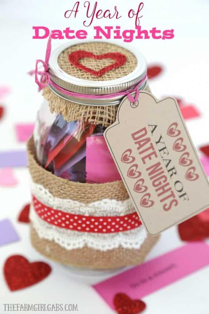 diy anniversary gifts: date nights in jar